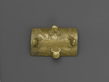 Asante. <em>Gold-weight (abrammuo): shield</em>, 19th or 20th century. Cast brass, 1 1/4 x 1 3/4 x 2 1/16 in. (3.2 x 4.4 x 5.2 cm). Brooklyn Museum, The Franklin H. Williams Collection of Ashanti Brass Weights and Accessory Objects for Weighing Gold, Gift of Mr. and Mrs. Franklin H. Williams, 74.218.29. Creative Commons-BY (Photo: Brooklyn Museum, 74.218.29_PS6.jpg)