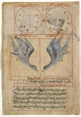 <em>The Constellation of Corvus the Raven, Folio from Suwar al-Kawakib al-Thabita (The Book of Fixed Stars) by Abd al-Rahman (b. Umar al-Sufi, 903-986 CE)</em>, 16th century. Ink, opaque watercolor, and gold on paper, 5 3/4 x 7 7/8 in. (14.6 x 20 cm). Brooklyn Museum, Designated Purchase Fund, 74.23 (Photo: Brooklyn Museum, 74.23_IMLS_SL2.jpg)