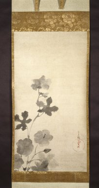 Tawaraya Sotatsu (Japanese, active 1600-1643). <em>Hibiscus</em>, 17th century. Hanging scroll, ink on paper, Image: 33 1/2 x 17 5/8 in. (85.1 x 44.8 cm). Brooklyn Museum, Gift of Carll H. de Silver, by exchange and Asian Art Acquisitions Fund, 74.26.3 (Photo: Brooklyn Museum, 74.26.3_IMLS_SL2.jpg)