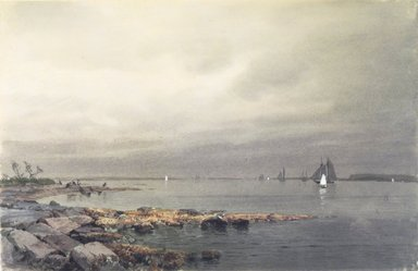 William Trost Richards (American, 1833-1905). <em>Calm Before a Storm, Newport</em>, ca. 1874. Transparent and opaque watercolor on cream, moderately thick, moderately textured wove paper, 8 13/16 x 13 9/16 in. (22.4 x 34.4 cm). Brooklyn Museum, Dick S. Ramsay Fund, 74.30.2 (Photo: Brooklyn Museum, 74.30.2.jpg)