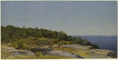 William Trost Richards (American, 1833-1905). <em>The Sakonnet River</em>, ca. 1876. Opaque watercolor over graphite on blue, moderately thick, slightly textured wove paper, 6 7/8 x 13 11/16 in. (17.5 x 34.8 cm). Brooklyn Museum, Dick S. Ramsay Fund, 74.30.3 (Photo: , 74.30.3_SL3.jpg)