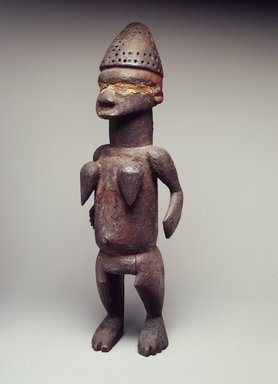 Salampasu. <em>Standing Female Figure (Tulume)</em>, late 19th century. Wood, pigment, 14 3/16 x 4 5/16 x 3 9/16 in. (36 x 11 x 9 cm). Brooklyn Museum, By exchange and Designated Purchase Fund, 74.32. Creative Commons-BY (Photo: Brooklyn Museum, 74.32.jpg)