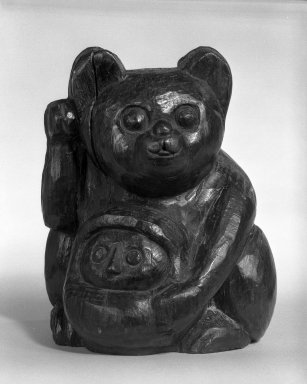 <em>Maneki-Neko (Beckoning Cat) and Daruma</em>, 18th century. Carved wood, 8 1/4 x 7 1/4 in. (21 x 18.4 cm). Brooklyn Museum, Designated Purchase Fund, 74.52. Creative Commons-BY (Photo: Brooklyn Museum, 74.52_bw.jpg)