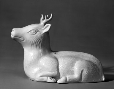 <em>Figure of a Stag</em>, 19th century. Porcelain, Hirado ware, 7 1/4 x 10 1/4 in. (18.4 x 26 cm). Brooklyn Museum, Purchased with funds given by Mr. and Mrs. Harry Kahn, 74.55.1. Creative Commons-BY (Photo: Brooklyn Museum, 74.55.1_bw.jpg)