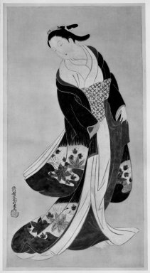 Koikawa Harumachi (Japanese, 1744-1789). <em>Courtesan</em>, late 18th century-early 19th century. Hanging scroll, ink and colors on paper, Image: 41 1/2 x 20 3/4 in. (105.4 x 52.7 cm). Brooklyn Museum, Gift of Louis V. Ledoux, by exchange, 74.56 (Photo: Brooklyn Museum, 74.56_bw_IMLS.jpg)