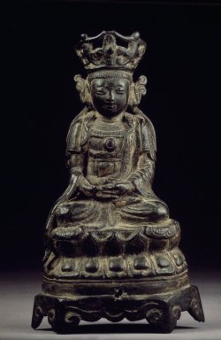 <em>Seated Bodhisattva</em>, 13th century. Bronze, 6 x 3 1/2in. (15.2 x 8.9cm). Brooklyn Museum, Designated Purchase Fund, 74.80.1. Creative Commons-BY (Photo: Brooklyn Museum, 74.80.1.jpg)