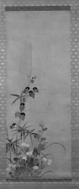Kitagawa Sosetsu (Japanese, active mid 17th century). <em>Morning Glories, Bamboo, and Daisies</em>, 17th to mid-17th century. Hangiing scroll, ink and color on paper, Image: 50 3/4 x 19 1/2 in. (128.9 x 49.5 cm). Brooklyn Museum, By exchange, 74.85 (Photo: Brooklyn Museum, 74.85_bw_IMLS.jpg)