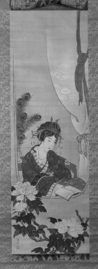 Maruyama Oshin (Japanese, 1790-1838). <em>Chinese Beauty</em>, early 19th century. Hanging scroll, Ink and colors on silk, 43 1/2 x 14 in. (110.5 x 35.5 cm). Brooklyn Museum, Designated Purchase Fund, 74.91 (Photo: Brooklyn Museum, 74.91_bw_IMLS.jpg)
