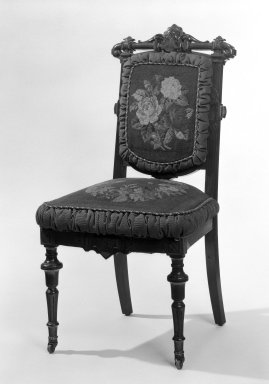 <em>Side Chair (reception) (Renaissance Revival style)</em>, ca. 1865. Walnut, mahogany; original upholstery, 38 3/4 x 20 1/2 x 17 3/4 in. (98.4 x 52.1 x 45.1 cm). Brooklyn Museum, Gift of John H. Livingston, 74.96.1. Creative Commons-BY (Photo: Brooklyn Museum, 74.96.1_bw.jpg)