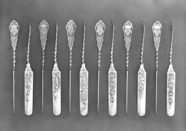 Albert Coles & Company (1836-1880). <em>Butter Knife</em>, ca. 1870. Sterling silver, 1 7/8 x 19 3/16 in. (4.8 x 48.8 cm). Brooklyn Museum, Gift of John H. Livingston, 74.96.10. Creative Commons-BY (Photo: , 74.96.7-.18_bw.jpg)