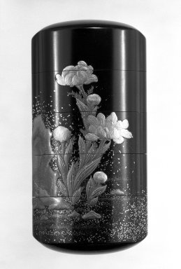 <em>Inro, Gold Peonies and Rocks</em>, 18th-19th century. Wood, lacquer, 3 9/16 x 1 7/8 in. (9 x 4.7 cm). Brooklyn Museum, Gift of Mr. and Mrs. Tessim Zorach, 75.10.1. Creative Commons-BY (Photo: Brooklyn Museum, 75.10.1_view1_bw.jpg)