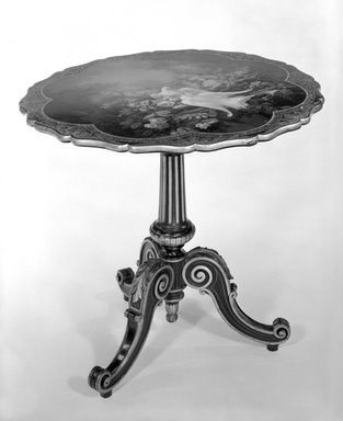<em>Tea Table</em>, ca. 1850. Baluster, 45 7/8 x 29 1/2 in. (116.5 x 74.9 cm). Brooklyn Museum, Gift of Marguerite Kennelly, 75.109. Creative Commons-BY (Photo: Brooklyn Museum, 75.109_bw.jpg)