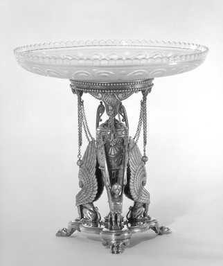Elkington and Company (ca. 1835-1963). <em>Compote and Stand</em>, ca. 1866. Silver, gilt Brooklyn Museum, Gift of Mrs. D. Chester Noyes, 75.110.7a-e. Creative Commons-BY (Photo: Brooklyn Museum, 75.110.7a-e_bw.jpg)