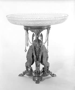 Elkington and Company (ca. 1835-1963). <em>Compote and Stand</em>, ca. 1866. Silver, gilt,silver plate, 8 1/4 x 8 1/4 in. (21 x 21 cm). Brooklyn Museum, Gift of Mrs. D. Chester Noyes, 75.110.8a-e. Creative Commons-BY (Photo: Brooklyn Museum, 75.110.8a-e_bw.jpg)
