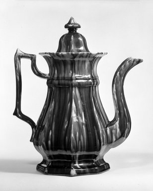 Lyman Fenton & Co. (American, 1849-1852). <em>Coffee Pot and Cover</em>, ca. 1849-1858. Earthenware, 12 3/4 x 5 3/4 in. (32.4 x 14.6 cm). Brooklyn Museum, H. Randolph Lever Fund, 75.112.3a-b. Creative Commons-BY (Photo: Brooklyn Museum, 75.112.3a-b_bw.jpg)