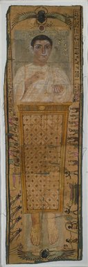 <em>Elaborately Painted Shroud of Neferhotep, Son of Herrotiou</em>, 100-225 C.E. Linen, pigment, 1/16 x 27 x 67 in. (0.2 x 68.6 x 170.2 cm). Brooklyn Museum, Charles Edwin Wilbour Fund, 75.114. Creative Commons-BY (Photo: Brooklyn Museum, 75.114_PS1.jpg)