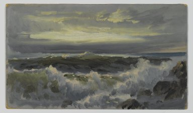 William Trost Richards (American, 1833-1905). <em>A Rough Surf</em>, after 1890. Oil on composition board, 8 3/16 x 14 3/8 in. (20.8 x 36.5 cm). Brooklyn Museum, Edith Ballinger Price, 75.12.1 (Photo: Brooklyn Museum, 75.12.1_PS2.jpg)
