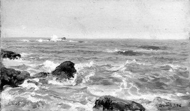 William Trost Richards (American, 1833-1905). <em>Marine Study</em>, 1890s. Oil on panel, 5 3/16 x 9 1/16 in. (13.2 x 23 cm). Brooklyn Museum, Gift of Edith Ballinger Price, 75.12.3 (Photo: Brooklyn Museum, 75.12.3_bw.jpg)