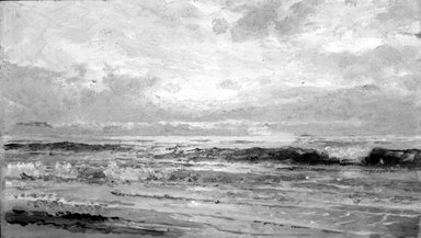 William Trost Richards (American, 1833-1905). <em>Marine: Oil Sketch</em>, 1880-1890. Oil on panel, 5 3/16 x 9 1/16 in. (13.2 x 23 cm). Brooklyn Museum, Gift of Edith Ballinger Price, 75.12.4 (Photo: Brooklyn Museum, 75.12.4_bw.jpg)