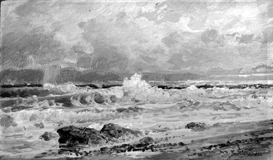 William Trost Richards (American, 1833-1905). <em>Point Judith</em>, 1880-1890. Oil on panel, 5 3/16 x 9 1/16 in. (13.2 x 23 cm). Brooklyn Museum, Gift of Edith Ballinger Price, 75.12.5 (Photo: Brooklyn Museum, 75.12.5_bw.jpg)