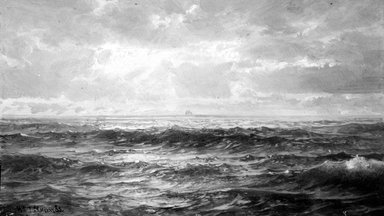 William Trost Richards (American, 1833-1905). <em>Marine Study</em>, 1890s. Oil on panel, 5 1/8 x 9 1/16 in. (13 x 23 cm). Brooklyn Museum, Gift of Edith Ballinger Price, 75.12.6 (Photo: Brooklyn Museum, 75.12.6_bw.jpg)