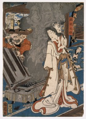 Toyohara Kunichika (Japanese, 1835-1900). <em>Yoshikado Visiting the Old temple at Soma</em>, 1858, 8th month. Woodblock print (in color), Each sheet: 13 11/16 x 9 11/16 in. (34.8 x 24.6 cm). Brooklyn Museum, Gift of The Honorable and Mrs. Richard Palmer, 75.121 (Photo: Brooklyn Museum, 75.121_center_IMLS_SL2.jpg)
