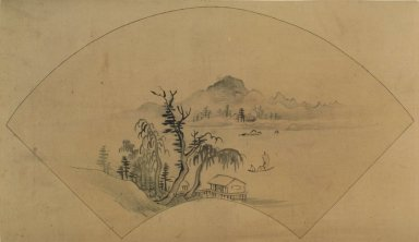 <em>Landscape</em>, 18th-19th century. Ink and light color on silk, 9 1/16 x 14 15/16 in. (23 x 38 cm). Brooklyn Museum, Designated Purchase Fund, 75.125.14 (Photo: Brooklyn Museum, 75.125.14.jpg)