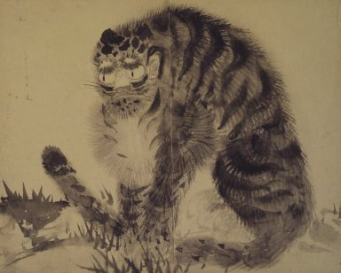 <em>Tiger</em>, late 19th-early 20th century. Ink on paper, 10 9/16 x 12 15/16 in. (26.8 x 32.8 cm). Brooklyn Museum, Designated Purchase Fund, 75.125.15 (Photo: Brooklyn Museum, 75.125.15.jpg)