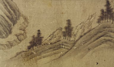 <em>Landscape with Two Rock Clusters</em>, 19th century. Ink and light color on paper, 6 1/2 x 11 in.  (16.5 x 27.9 cm). Brooklyn Museum, Designated Purchase Fund, 75.125.2 (Photo: Brooklyn Museum, 75.125.2.jpg)
