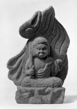 <em>Fudo Myoo (Folk Sculpture)</em>, 18th century. Gray stone, 16 1/2 x 10 1/2 in. (41.9 x 26.7 cm). Brooklyn Museum, Gift of Beatrice and Jeanette Rothbard, 75.128.3. Creative Commons-BY (Photo: Brooklyn Museum, 75.128.3_bw.jpg)