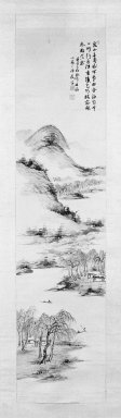 Nukina Kaioku (Japanese, 1778-1863). <em>Landscape</em>, 1852. Hanging scroll, ink and light color on paper, Image: 42 3/4 x 10 5/8 in. (108.6 x 27 cm). Brooklyn Museum, J. Aron Charitable Foundation Purchase Funds, 75.128.4 (Photo: Brooklyn Museum, 75.128.4_bw.jpg)