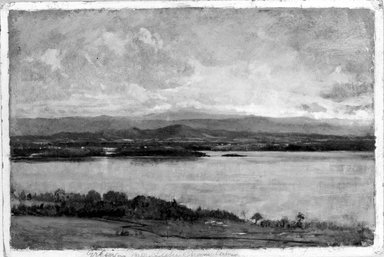 Winckworth Allan Gay (American, 1821-1910). <em>Green Mountains, Lake Champlain</em>, ca. 1865. Oil on paperboard, 8 3/16 x 12 1/8 in. (20.8 x 30.8 cm). Brooklyn Museum, Dick S. Ramsay Fund, 75.137 (Photo: Brooklyn Museum, 75.137_bw.jpg)