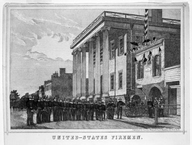 Unknown. <em>United States Fireman</em>. Lithograph, hand painted with watercolor on paper, sheet: 9 1/2 x 16 3/4 in. (24.1 x 42.5 cm). Brooklyn Museum, Gift of Michael Cohen, 75.141.1 (Photo: Brooklyn Museum, 75.141.1_bw.jpg)