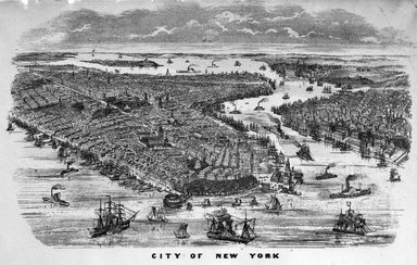Unknown. <em>City of New York</em>. Lithograph, hand painted with watercolor on paper, sheet: 8 1/4 x 17 in. (21 x 43.2 cm). Brooklyn Museum, Gift of Michael Cohen, 75.141.3 (Photo: Brooklyn Museum, 75.141.3_bw.jpg)