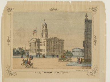 Unknown. <em>Brooklyn City Hall</em>. Lithograph, hand painted with watercolors on paper, sheet: 9 1/4 x 17 in. (23.5 x 43.2 cm). Brooklyn Museum, Gift of Michael Cohen, 75.141.4 (Photo: Brooklyn Museum, 75.141.4_PS2.jpg)