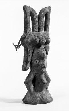 Igbo, Okoba. <em>Figure (Ikenga)</em>, early 20th century. Wood, 10 1/4 x 3 1/2 x 2 1/2 in. (26.1 x 9.0 x 6.5 cm). Brooklyn Museum, Gift of Dr. and Mrs. Abbott A. Lippman, 75.149.2. Creative Commons-BY (Photo: Brooklyn Museum, 75.149.2_bw.jpg)