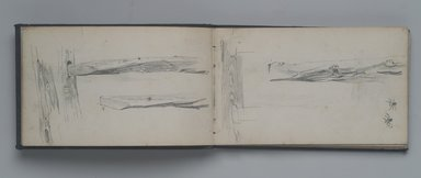 William Trost Richards (American, 1833-1905). <em>Sketchbook, Landscape, Tree and Plant Studies, Some Figures, Germantown, Pennsylvania Area</em>, ca. 1860. Graphite on paper, 4 1/8 x 6 7/8 in. (10.5 x 17.5 cm). Brooklyn Museum, Gift of Edith Ballinger Price, 75.15.11 (Photo: Brooklyn Museum, 75.15.11.jpg)