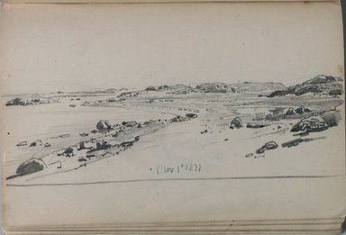 William Trost Richards (American, 1833-1905). <em>Sketchbook, Newport Area, Landscape and Coastal Subjects</em>, 1877. Graphite on paper, 4 7/8 x 7 11/16 in. (12.4 x 19.5 cm). Brooklyn Museum, Gift of Edith Ballinger Price, 75.15.14 (Photo: Brooklyn Museum, 75.15.14.jpg)