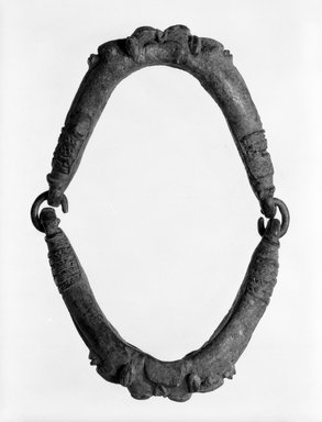 Yorùbá. <em>Ogboni Society Circlet</em>, late 19th or early 20th century. Copper alloy, diam: 5 3/4 in. (14.6 cm). Brooklyn Museum, Gift of Marcia and John Friede, 75.151.1. Creative Commons-BY (Photo: Brooklyn Museum, 75.151.1_bw.jpg)