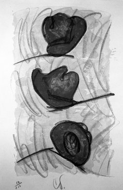 Claes Oldenburg (American, born Sweden 1929). <em>Three Hats, Number Eight</em>, 1974. Lithograph on paper, sheet: 35 x 23 1/8 in. (88.9 x 58.7 cm). Brooklyn Museum, Designated Purchase Fund, 75.16.8. © artist or artist's estate (Photo: Brooklyn Museum, 75.16.8_bw.jpg)