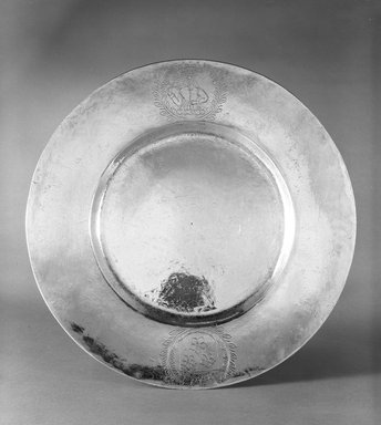 <em>Platter</em>, ca. 1630-1631. Silver, diameter: 10 in. Brooklyn Museum, Gift of Donald S. Morrison, 75.162.1. Creative Commons-BY (Photo: Brooklyn Museum, 75.162.1_bw.jpg)