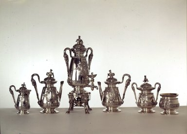 J. E. Caldwell & Co. (founded 1839). <em>Coffee Pot with Hinged Cover</em>, ca. 1875. Sterling silver, ivory, Other (Height): 11 11/16 in. (29.7 cm). Brooklyn Museum, H. Randolph Lever Fund, 75.164.2. Creative Commons-BY (Photo: , 75.164.1-.6_SL4.jpg)
