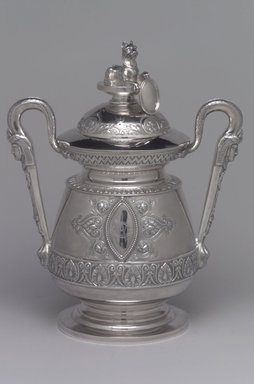 J. E. Caldwell & Co. (founded 1839). <em>Sugar Bowl and Cover</em>, ca. 1875. Silver, 10 x 8 1/4 x 5 5/16 in. (25.4 x 21 x 13.5 cm). Brooklyn Museum, H. Randolph Lever Fund, 75.164.5a-b. Creative Commons-BY (Photo: Brooklyn Museum, 75.164.5a-b.jpg)