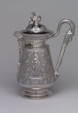 J. E. Caldwell & Co. (founded 1839). <em>Creamer with Hinged Cover</em>, ca. 1875. Silver, 8 1/4 x 5 7/8 x 3 5/8 in. (21 x 14.9 x 9.2 cm). Brooklyn Museum, H. Randolph Lever Fund, 75.164.6. Creative Commons-BY (Photo: Brooklyn Museum, 75.164.6_left.jpg)