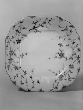 Union Porcelain Works (1863-ca. 1922). <em>Plate (One From a Set of Five)</em>, 1879-1891. Porcelain, 7/8 x 7 1/4 x 7 1/4 in. (2.2 x 18.4 x 18.4 cm). Brooklyn Museum, H. Randolph Lever Fund, 75.165.1. Creative Commons-BY (Photo: Brooklyn Museum, 75.165.1_bw.jpg)