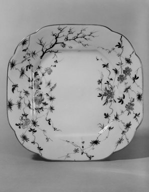 Union Porcelain Works (1863-ca. 1922). <em>Plate (One From a Set of Five)</em>, ca. 1879-1891. Porcelain, 7/8 x 7 1/4 x 7 1/4 in. (2.2 x 18.4 x 18.4 cm). Brooklyn Museum, H. Randolph Lever Fund, 75.165.2. Creative Commons-BY (Photo: Brooklyn Museum, 75.165.2_bw.jpg)