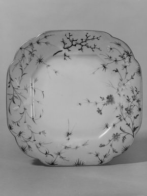 Union Porcelain Works (1863-ca. 1922). <em>Plate (One From a Set of Five)</em>, ca. 1879-1891. Porcelain, 7/8 x 7 1/4 x 7 1/4 in. (2.2 x 18.4 x 18.4 cm). Brooklyn Museum, H. Randolph Lever Fund, 75.165.3. Creative Commons-BY (Photo: Brooklyn Museum, 75.165.3_bw.jpg)