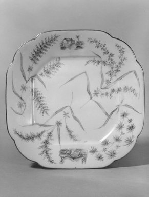 Union Porcelain Works (1863-ca. 1922). <em>Plate (One From a Set of Five)</em>, 1879-1891. Porcelain, 7/8 x 7 1/4 x 7 1/4 in. (2.2 x 18.4 x 18.4 cm). Brooklyn Museum, H. Randolph Lever Fund, 75.165.4. Creative Commons-BY (Photo: Brooklyn Museum, 75.165.4_bw.jpg)