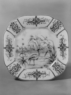 Union Porcelain Works (1863-ca. 1922). <em>Plate (One From a Set of Five)</em>, after 1891. Porcelain, 7/8 x 7 1/4 x 7 1/4 in. (2.2 x 18.4 x 18.4 cm). Brooklyn Museum, H. Randolph Lever Fund, 75.165.5. Creative Commons-BY (Photo: Brooklyn Museum, 75.165.5_bw.jpg)