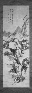 Hirano Gogaku (Japanese, 1811-1893). <em>Landscape</em>, 19th century. Hanging scroll, ink on paper, 79 x 24 in. (200.7 x 61 cm). Brooklyn Museum, Gift of Howard Hollis, 75.172.17 (Photo: Brooklyn Museum, 75.172.17_bw_IMLS.jpg)